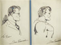 Original Comic Art:Sketches, Joe Shuster - Superman and Clark Kent Sketch Original Art(undated)....