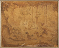 """""""Snow White and the Seven Dwarfs"""" Animation Concept Drawing Original Art (Disney, 1937)"""