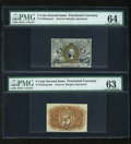 Fractional Currency:Second Issue, Fr. 1232SP 5c Second Issue Narrow Margin Pair PMG Choice Uncirculated 64/63.... (Total: 2 notes)