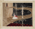 "Animation Art:Production Drawing, Mary Blair - ""Cinderella"" Animation Concept Painting Original Art(Disney, 1950)...."