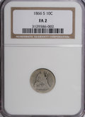 Seated Dimes: , 1866-S 10C F2 NGC. NGC Census: (2/22). PCGS Population (0/25).Mintage: 135,000. Numismedia Wsl. Price for NGC/PCGS coin in...