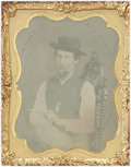 Photography:Tintypes, Ninth Plate Tintype Man with Pistol ca 1860s-1870s ...