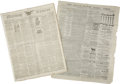 Western Expansion:Cowboy, Lot of Five Newspapers ca 1840s-1910 - ... (Total: 5 Items)
