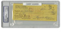 Autographs:Checks, 1967 Harry Hooper Signed Check, PSA Authentic. The phenomenal Hallof Fame outfielder for the Boston Red Sox has signed th...