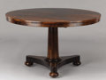 Furniture : American, PROPERTY FROM THE CROW ART PARTNERSHIP COLLECTION. AN ENGLISHROSEWOOD TILT-TOP CENTER TABLE. Circa 1840. 28-1/4 x 48 inch...