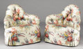 Furniture : English, A PAIR OF ENGLISH UPHOLSTERED CORNER ARMCHAIRS. Late 19th Century. 30 x 30-1/2 x 26 inches (76.2 x 77.5 x 66.0 cm) each. ... (Total: 2 Items)