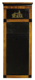 Furniture , A CONTINENTAL EMPIRE-STYLE MAHOGANY AND EBONIZED WOOD TRUMEAU MIRROR. Late 19th Century. 71 x 29 inches (180.3 x...