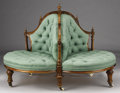 Furniture , AN ENGLISH VICTORIAN WALNUT ROUNDABOUT CONVERSATION CHAIR. Late 19th Century. 37 x 52 inches (94.0 x 132.1 cm). ...