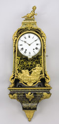Decorative Arts, French:Other , A FRENCH TORTOISESHELL, BRASS, AND GILT BRONZE STRIKING BRACKETCLOCK. Retailed by Camard, France, Late 19th Century. 49-1/2...