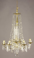 Decorative Arts, Continental:Lamps & Lighting, A GILT METAL AND CRYSTAL FIVE-LIGHT CHANDELIER. 20th Century. 31inches (78.7 cm) high. ...