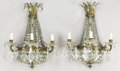 Lighting:Sconces, A PAIR OF NEOCLASSICAL-STYLE GILT BRONZE AND CRYSTAL SCONCES. Late 19th-Early 20th Century. 20 inches (50.8 cm) high, each. ...