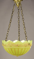 Decorative Arts, American:Lamps & Lighting, AN AMERICAN GLASS HANGING LAMP. Attributed to Northwood Glass Company, Wheeling, West Virginia, Early 20th Century. 18-3/8 i...