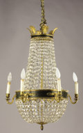 Decorative Arts, French:Lamps & Lighting, AN EMPIRE-STYLE GILT METAL AND CRYSTAL SIX-LIGHT CHANDELIER. Late19th-Early 20th Century. 22-1/2 inches (57.2 cm) diameter...