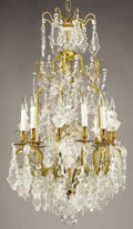 Decorative Arts, French:Lamps & Lighting, A FRENCH CUT CRYSTAL EIGHT-LIGHT CHANDELIER. Early 20th Century. 42inches (106.7 cm) high. ... (Total: 3 Items)