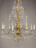 Lighting:Chandeliers, AN ITALIAN NEOCLASSICAL-STYLE GILT WOOD AND GLASS EIGHT-LIGHT CHANDELIER. Late 19th-Early 20th Century. 56 inches (142.2 cm)...