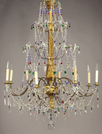 AN ITALIAN NEOCLASSICAL-STYLE GILT WOOD AND GLASS EIGHT-LIGHT CHANDELIER Late 19th-Early 20th Century 56 inches