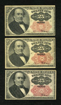 Fractional Currency:Fifth Issue, Fr. 1308 25c Fifth Issue. Two Examples. Fine. Fr. 1309 25c Fifth Issue. Fine.. ... (Total: 3 notes)