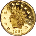 California Fractional Gold, 1881 50C Indian Round 50 Cents BG-1069, High R.4, MS65 Deep MirrorProoflike NGC....