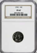 Proof Roosevelt Dimes: , 1952 10C PR67 NGC. NGC Census: (226/129). PCGS Population (359/29).Mintage: 81,980. Numismedia Wsl. Price for NGC/PCGS coi...