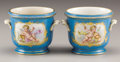 Ceramics & Porcelain, Continental:Modern  (1900 1949)  , TWO SÈVRES-STYLE PORCELAIN CACHE POTS. Early 20th Century. 4-1/16 inches (10.3 cm) high, each. ... (Total: 2 Items)