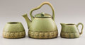 Ceramics & Porcelain, American:Modern  (1900 1949)  , AN AMERICAN ART POTTERY TEA SET. Rookwood Pottery, Cincinnati,Ohio, 1910. Marks: (Rookwood flame) / X / 770 / V. 6-1/2 ...