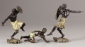 Bronze:European, FRANZ XAVIER BERGMAN (Austrian, 1861-1936). Three AfricanFigures, Circa 1900. Cold-painted bronze. 6-1/2 inches (16.5c...