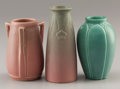 Ceramics & Porcelain, American:Modern  (1900 1949)  , THREE AMERICAN ART POTTERY VASES. Rookwood Pottery, Cincinnati,Ohio, 1925-1940. Marks: (Rookwood flame). 6-1/4 inches (15.9...(Total: 3 Items)