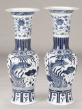 Asian:Chinese, A PAIR OF CHINESE PORCELAIN VASES. Late 19th-Early 20th Century.Marks: apocryphal imperial mark on the underside. 31 inches...(Total: 2 Items)