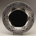 Art Glass:Other , AN AMERICAN GLASS PLATE WITH SILVER OVERLAY. Rockwell SilverCompany, Meriden, Connecticut, Circa 1925-1935. Marks: (Rockwel...