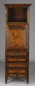 Furniture : French, A FRENCH LOUIS XVTH-STYLE PROVINCIAL WALNUT BONNETIÈRE. 20th Century. 65 x 20 x 14 inches (165.1 x 50.8 x 35.6 cm). ...
