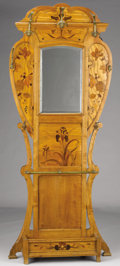 Furniture : Continental, A MARQUETRY HALL TREE. 20th Century. Bearing signature: EGallé. 84-3/4 x 34 inches (215.3 x 86.4 cm). ...