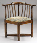 Furniture : English, AN ENGLISH PROVINCIAL OAK CORNER ARMCHAIR. Mid to Late 18th Century. 30 x 29-1/2 x 23 inches (76.2 x 74.9 x 58.4 cm). ...