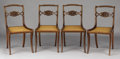 Furniture : English, A SET OF FOUR ENGLISH REGENCY BRASS INLAID MAHOGANY SIDE CHAIRS. Circa 1810-1830. 33 x 16 x 17 inches (83.8 x 40.6 x 43.2 cm...