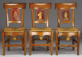 Furniture : French, A SET OF SIX FRENCH DIRECTOIRE FRUITWOOD SIDE CHAIRS WITHTOLE PEINTE BACKSPLATS. Circa 1790-1810. 3...