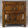 Furniture : Continental, A CONTINENTAL BAROQUE PROVINCIAL FRUITWOOD CABINET. 17th Century.45 x 41 x 17-1/2 inches (114.3 x 104.1 x 44.5 cm). ...