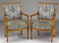 Furniture : French, A PAIR OF FRENCH DIRECTOIRE MAHOGANY AND FRUITWOODFAUTEUILS. Circa 1790-1830. 35 x 21 x 19 inches (88.9...