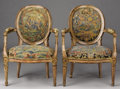 Furniture , A PAIR OF ITALIAN NEOCLASSICAL PINK AND CREAM PAINTED FAUTEUILS. Late 18th Century. 37-1/2 x 26-1/2 x 20 inches (95....