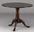 Furniture : English, AN ENGLISH GEORGE II MAHOGANY TILT-TOP TABLE. 18th Century and later. 27 x 35-1/4 inches (68.6 x 89.5 cm). ...