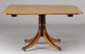 Furniture : English, AN ENGLISH REGENCY MAHOGANY TILT-TOP BREAKFAST TABLE. Circa 1810-1830. 29 x 46-1/2 x 53 inches (73.7 x 46-1/2 x 134.6 cm). ...