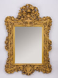 Paintings, AN ENGLISH CARVED OAK HERALDIC MIRROR. Late 19th Century. 39 inches (99.1 cm) high. ...