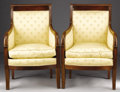 Furniture : French, A PAIR OF FRENCH EMPIRE MAHOGANY BERGÈRES. 19th Century. 36x 24-1/2 x 20-3/4 inches (91.4 x 62.2 x 52.7 cm) each. ...
