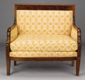 Furniture : French, A FRENCH EMPIRE MAHOGANY MARQUISE. 19th Century. 37 x 40-1/2 x 24 inches (94.0 x 102.9 x 61.0 cm). ...