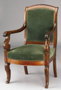 Furniture : French, A FRENCH CHARLES X MAHOGANY FAUTEUIL. Second Quarter 19thCentury. 37 x 22 x 17 inches (94.0 x 55.9 x 43.2 cm). ...