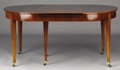 Furniture : French, A FRENCH DIRECTOIRE MAHOGANY DINING TABLE. Circa 1795.30-1/2 x 112 x 46-1/2 inches (77.5 x 284.5 x 118.1 cm) . ...