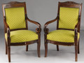 Furniture : French, A PAIR OF FRENCH RESTAURATION MAHOGANY FAUTEUILS. SecondQuarter 19th Century. 36 x 23 x 22 inches (91.4 x 58.4 x 55...