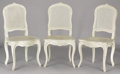 Furniture : French, A SET OF SIX FRENCH LOUIS XVTH-STYLE WHITE PAINTED SIDE CHAIRS. 20th Century. 39 inches (99.1 cm) high, each. ...