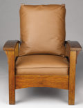 Furniture , AN AMERICAN BOW-ARM MORRIS CHAIR . Gustav Stickley, Eastwood, New York, Circa 1900. 37-1/2 x 30-3/4 x 36 inches (95.3 x 78.1...