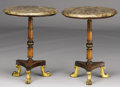 Furniture : English, A PAIR OF ENGLISH REGENCY WALNUT AND FRUITWOOD TEA TABLES. Early 19th Century. 21-5/8 x 16-1/4 inches (54.9 x 41.3 cm) each...