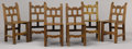 Furniture : Continental, A SET OF SIX SPANISH OAK SIDE CHAIRS. 19th Century. 33 x 15 x 16inches (83.8 x 38.1 x 40.6 cm). ... (Total: 6 Items)