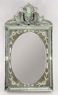 Decorative Arts, Continental:Other , AN ITALIAN ETCHED-GLASS MIRROR. Venice, Circa 1900. 39-3/4 inches (101.0 cm) high. ...